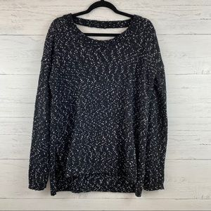 Jack BB Dakota Black Speckled Cross Back Sweater